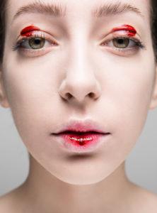 beauty blood on eyes